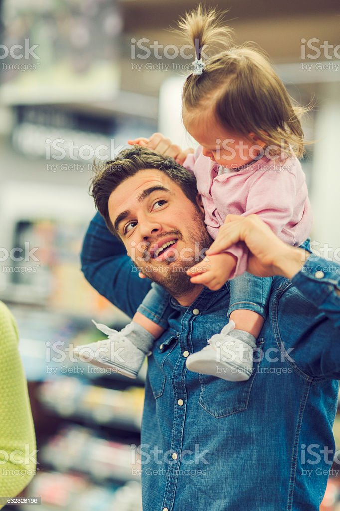 Father And His Baby Daughter Moment. stock photo
