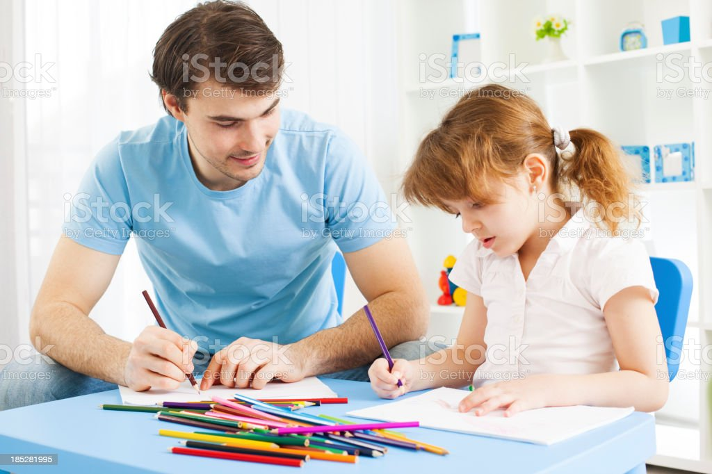 Father and his daughter coloring book. royalty-free stock photo