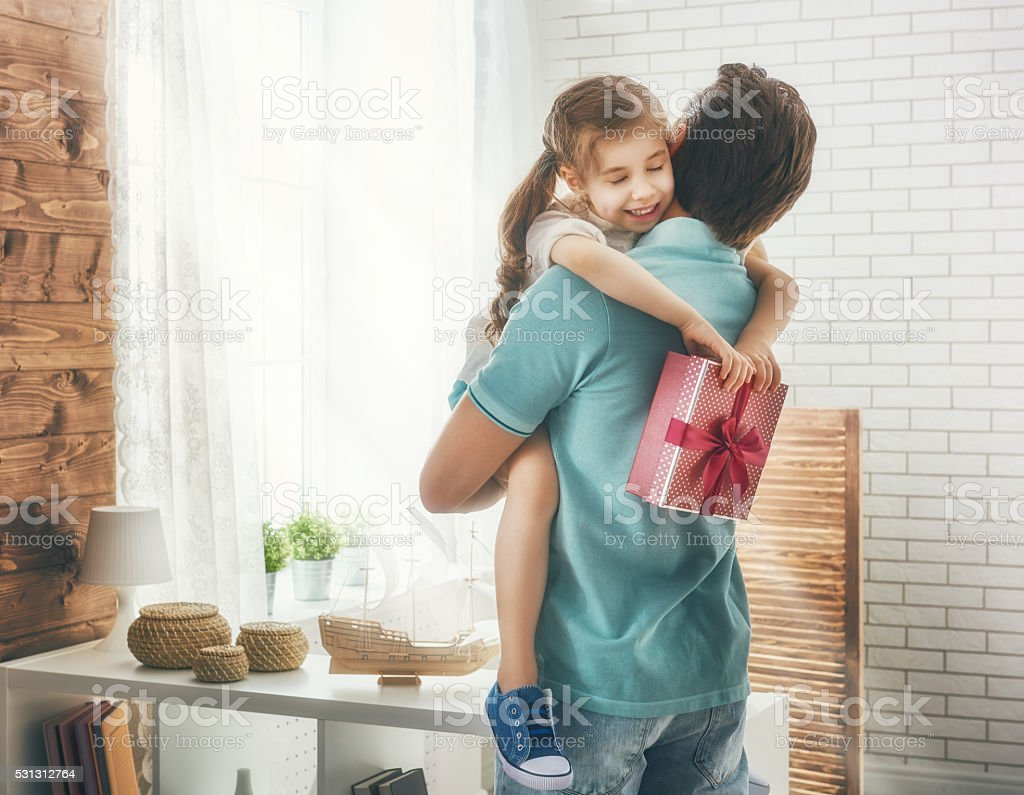Happy loving family and Father\'s Day. Father and his daughter. Cute...