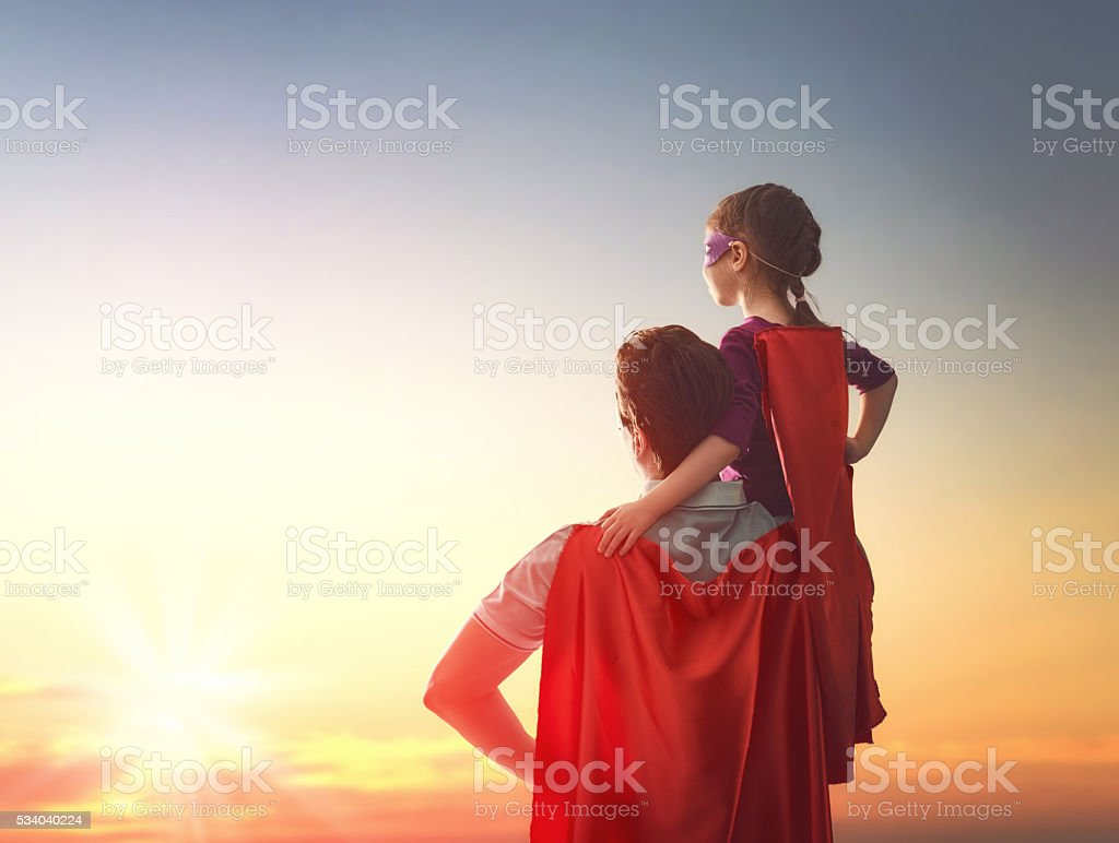 Father and his daughter stock photo