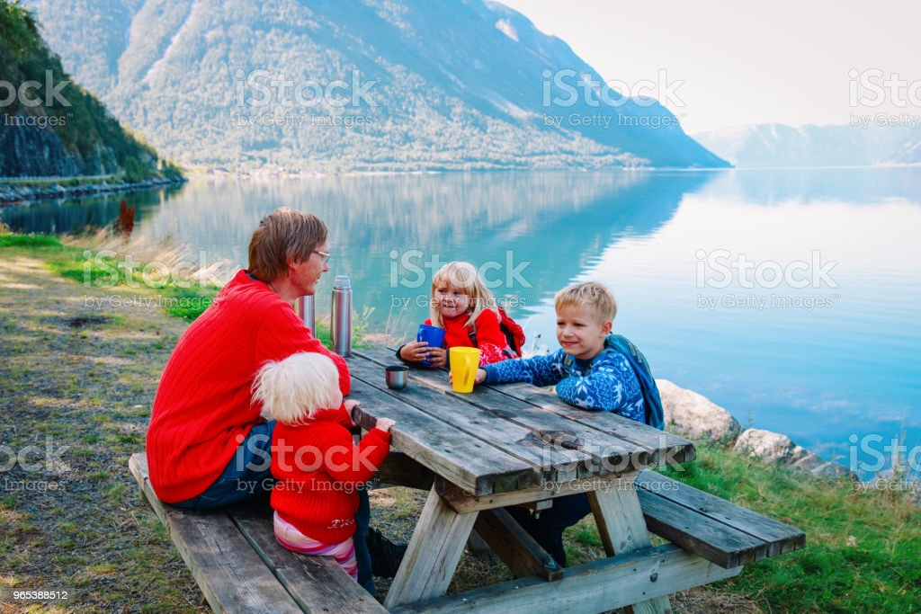 father and kids having picnic in scenic nature zbiór zdjęć royalty-free
