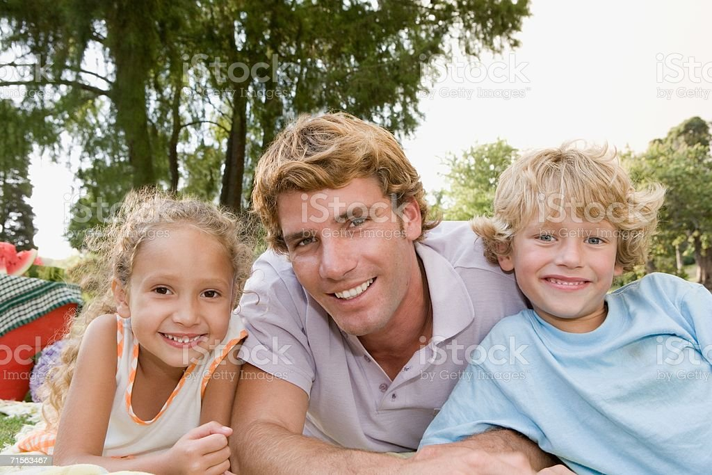 Father and kids outdoors royalty-free stock photo