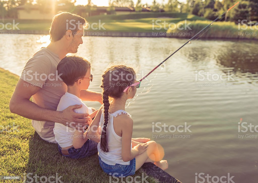 Father and kids stock photo