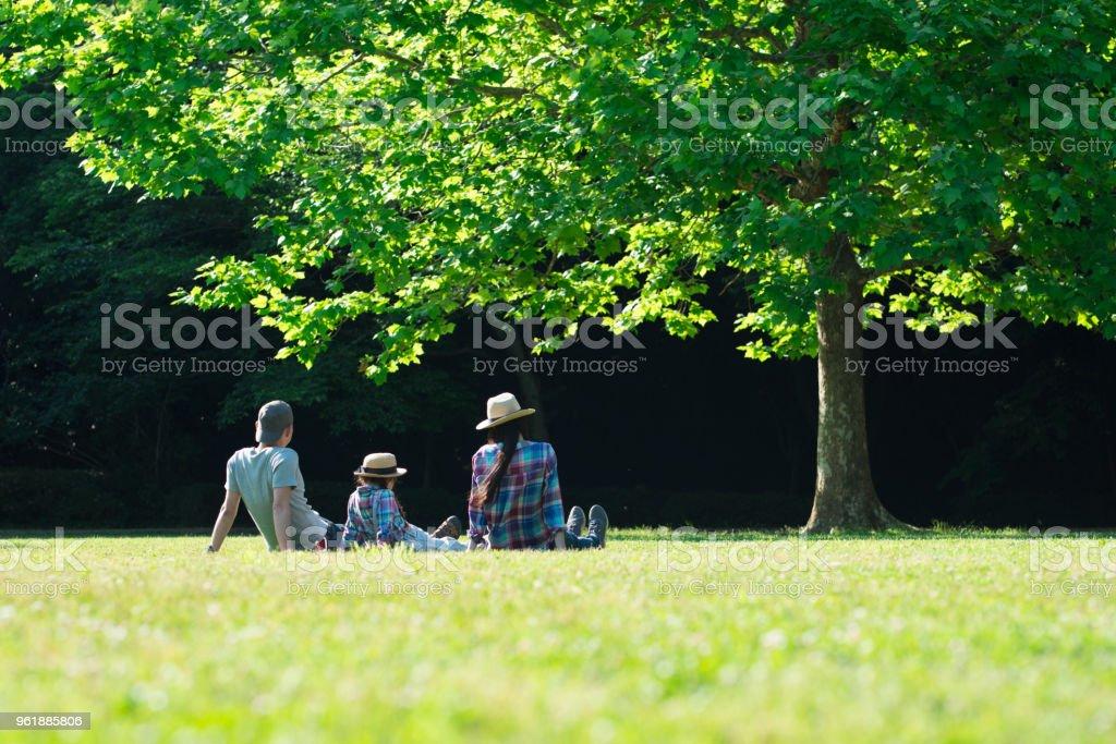 父と母と娘が芝生でリラックスします。 - 30代の女性のロイヤリティフリーストックフォト