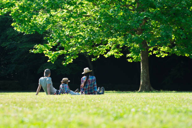 父と母と娘が芝生でリラックスします。 - ライフスタイル ストックフォトと画像