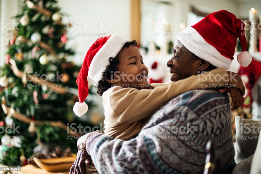 Father and son are enjoying Christmas holiday stock photo