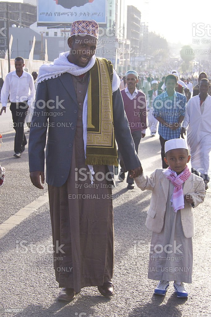 Father and son are going for Eid Ul-Adha royalty-free stock photo
