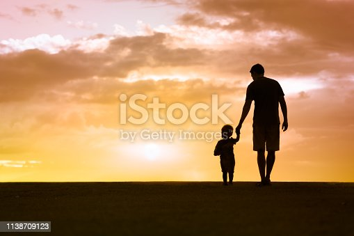 497142294 istock photo Father and son at sunset 1138709123