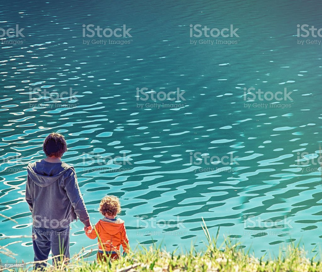Father and Son at the Lake royalty-free stock photo