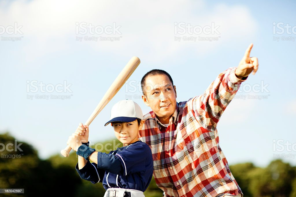 Father and Son Baseball stock photo