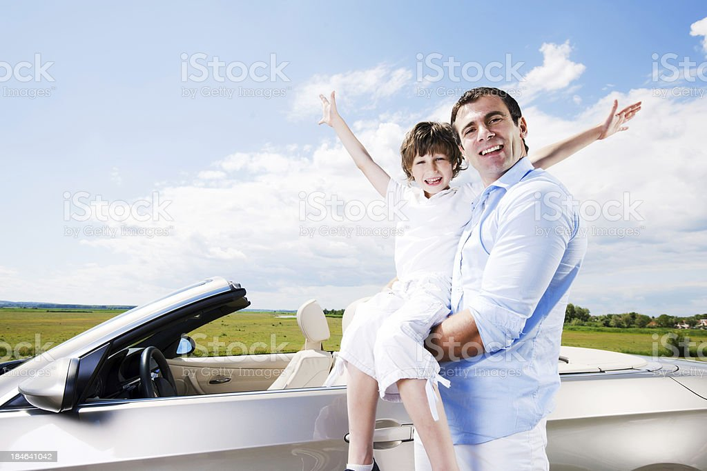 Father and son enjoying in the summer day royalty-free stock photo
