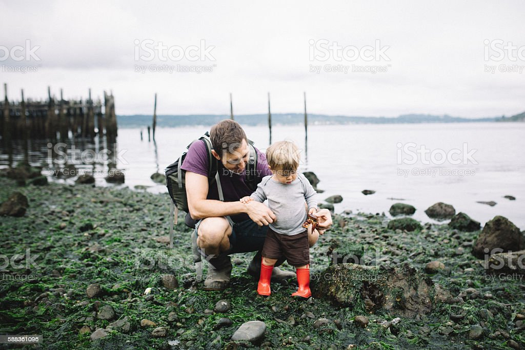 Father and Son Exploring Rocky Beach stock photo
