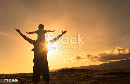 997711042istockphoto Father and son feeling free with arms up 1178431929