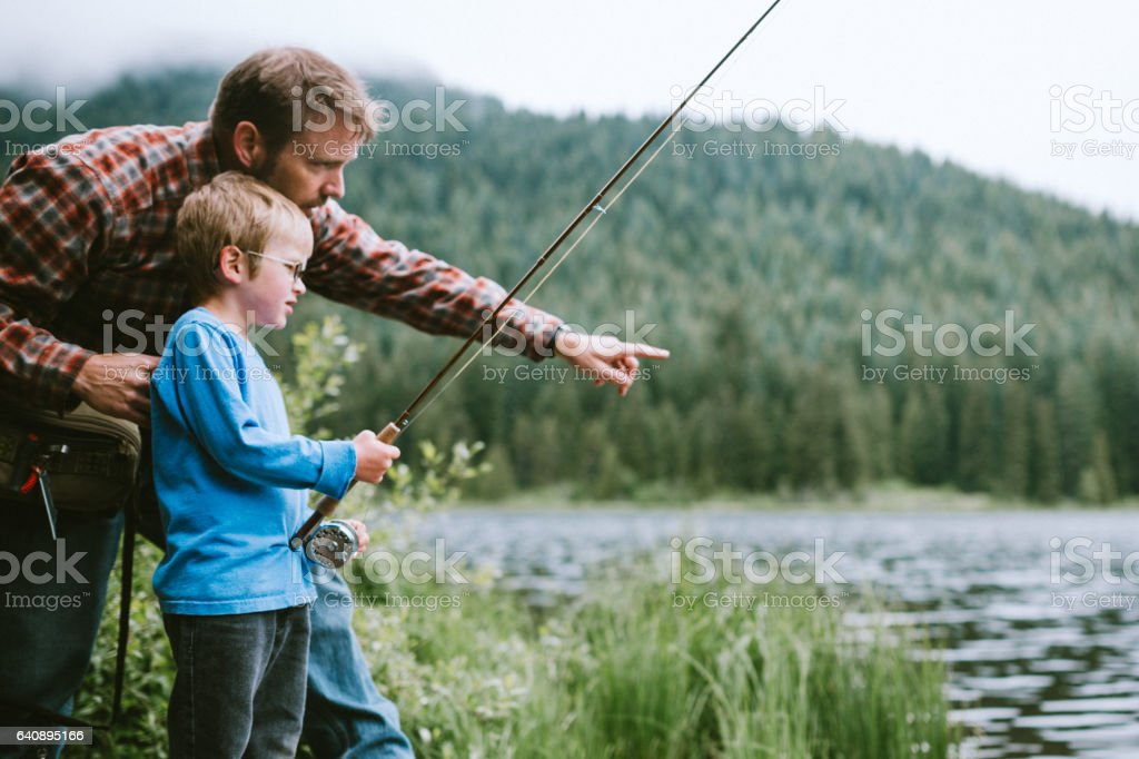 Father and Son Fishing Trip stock photo