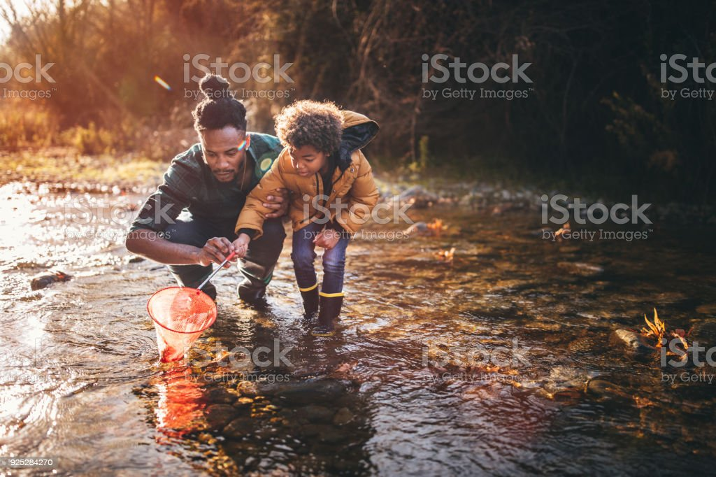 Father and son fishing with fishing net in river stock photo