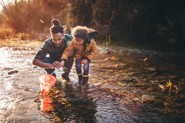 father and son fishing with fishing net in river - adventure stock photos and pictures