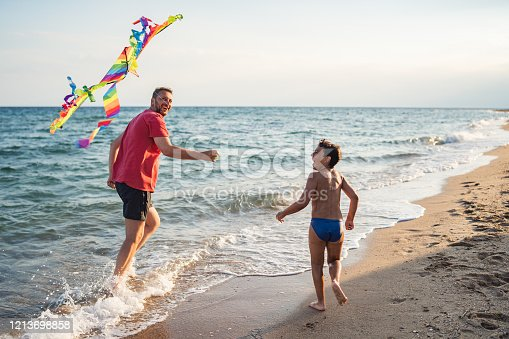 Father and son flying a kite