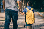 istock Father and son going to kindergarten 1288962069