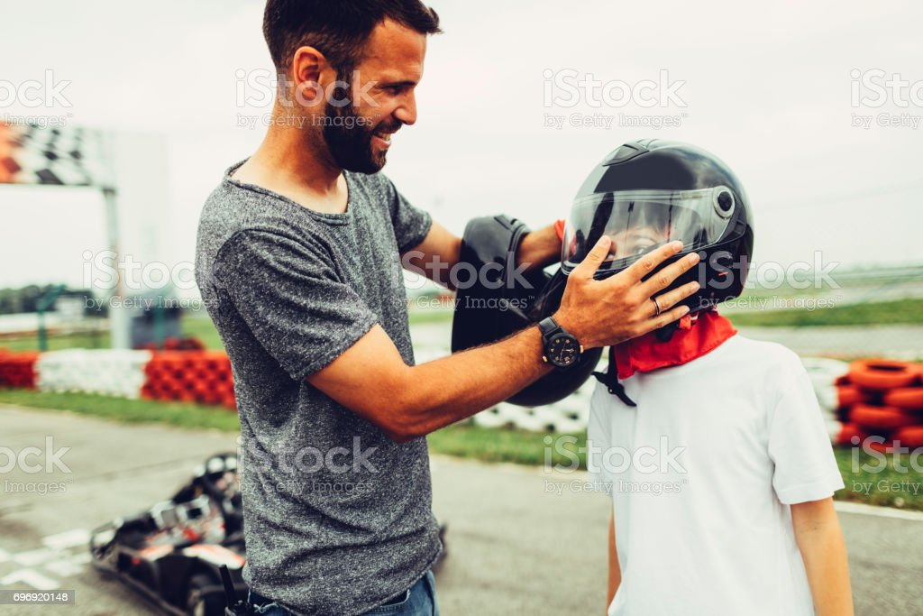 Father and son go-Karts stock photo