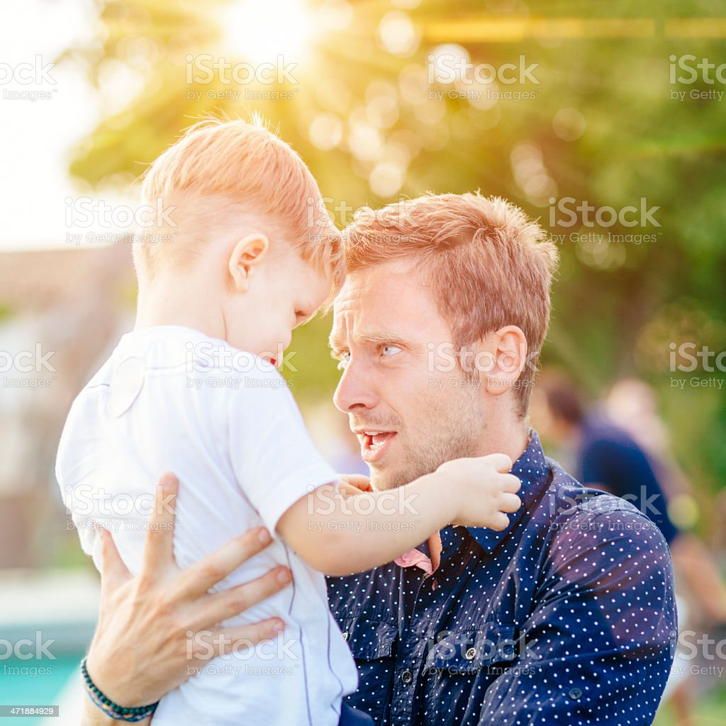 Father and Son having fun outdoor royalty-free stock photo