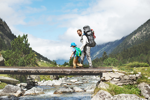 istock Father and son hiking together in mountains 1135153722