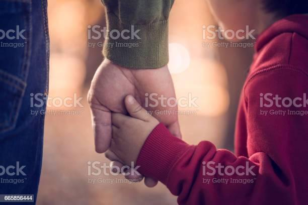 Vater Und Sohn Hände Halten Im Park Stockfoto und mehr Bilder von Kind