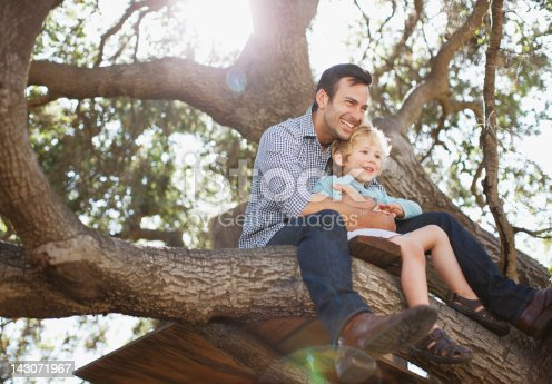 istock Father and son hugging in tree 143071967