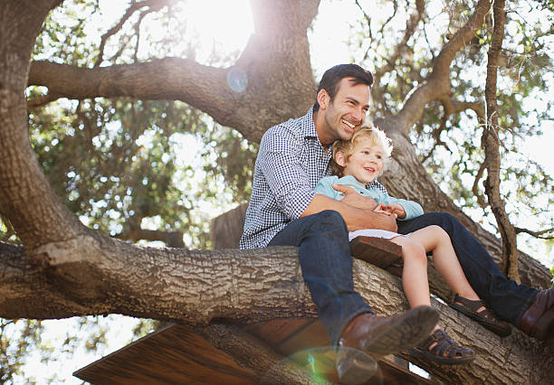 father and son hugging in tree - rural lifestyle stock photos and pictures