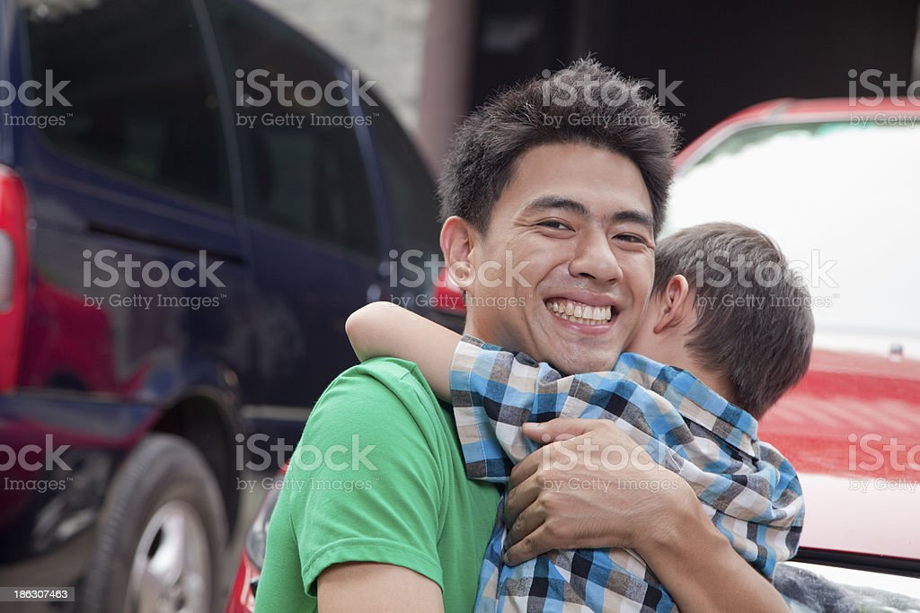 Father and Son Hugging royalty-free stock photo