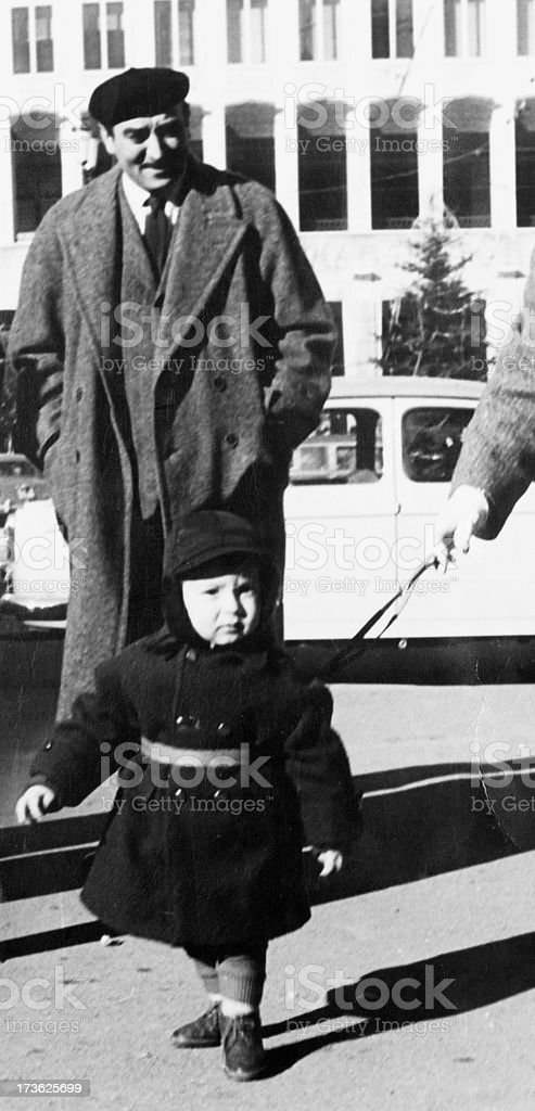 Father and son in 1950 royalty-free stock photo