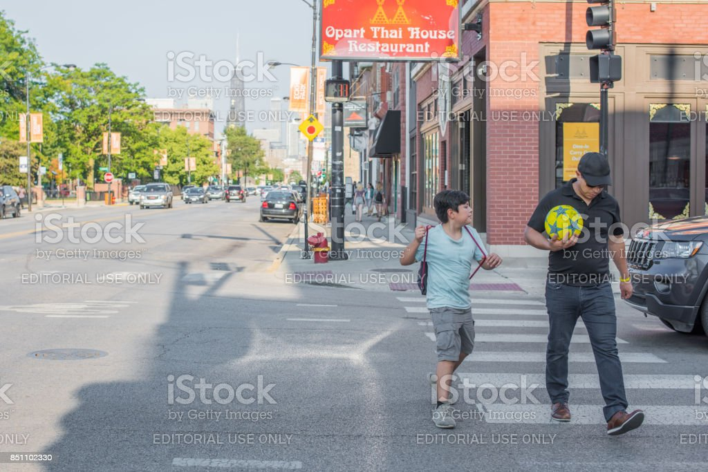 Father and son in River West Chicago stock photo