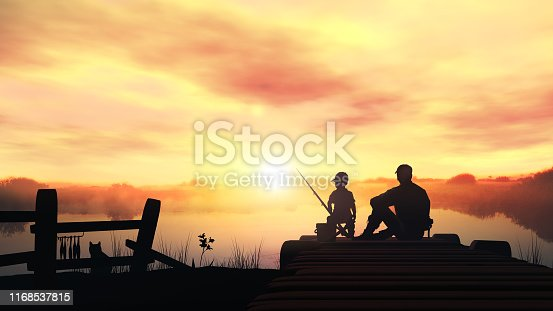 Silhouettes of father and son catching fish from a wooden pier at dawn.