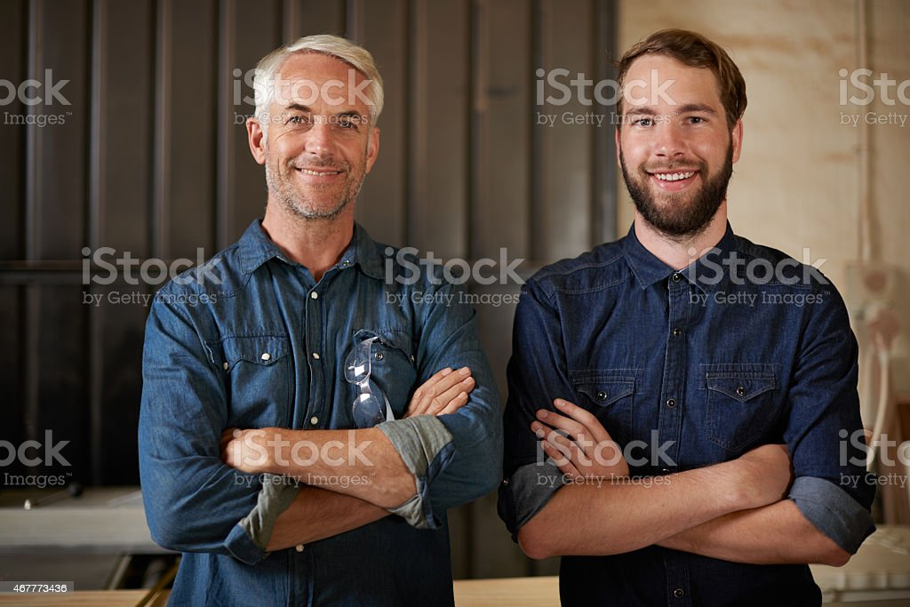 Father and son, master and apprentice stock photo