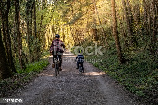 Father and Son MTB biking in the Forest
