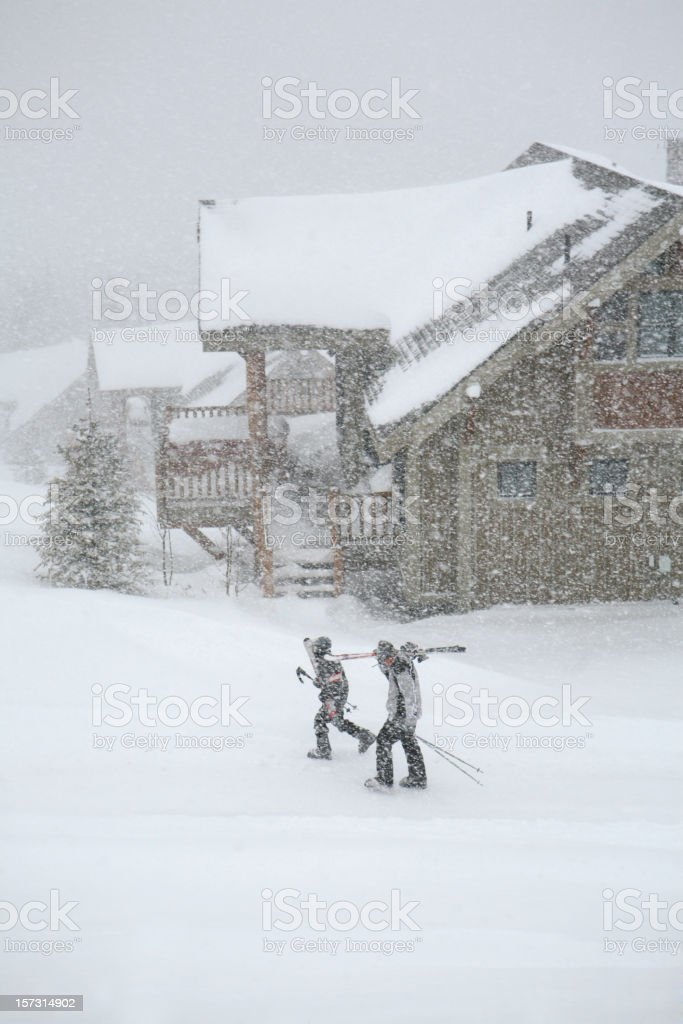 Father and Son on Snowy Day royalty-free stock photo