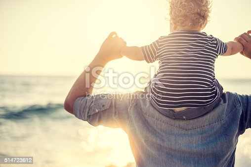 istock Father and son on the beach 514723612