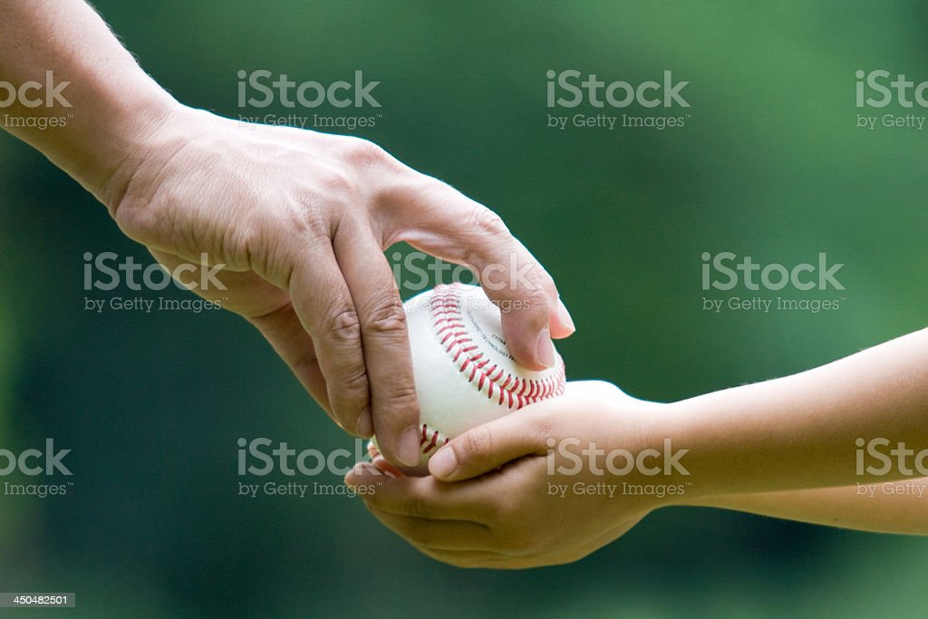Father and Son Play Catch stock photo