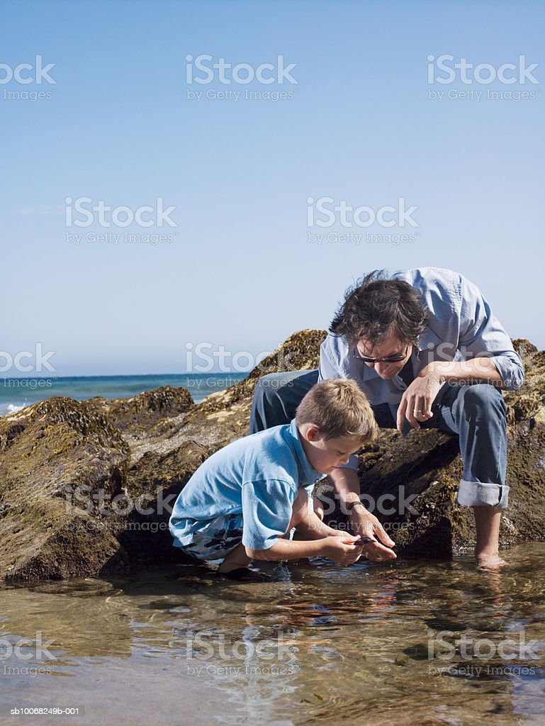 Father and son (6-7) playing at seashore royalty-free stock photo