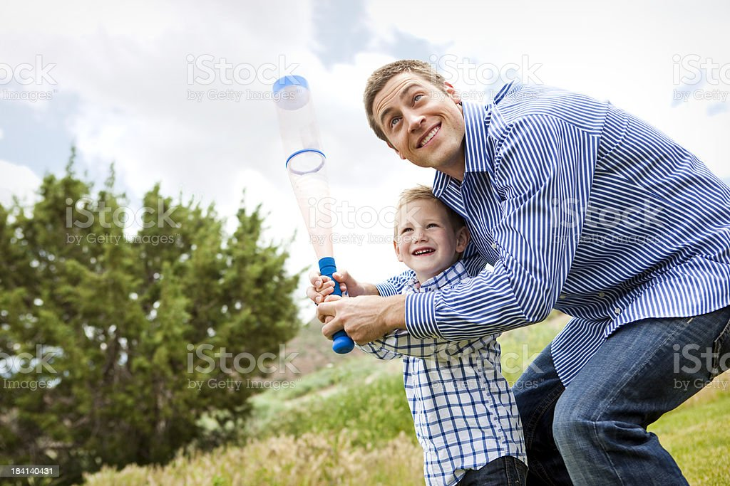 Father and Son Playing Baseball royalty-free stock photo