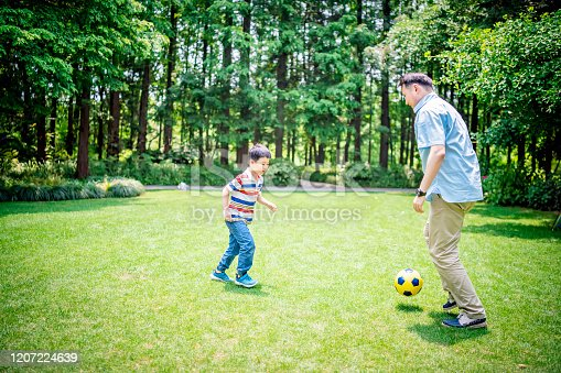 589135214 istock photo Father and son playing soccer at the public park 1207224639