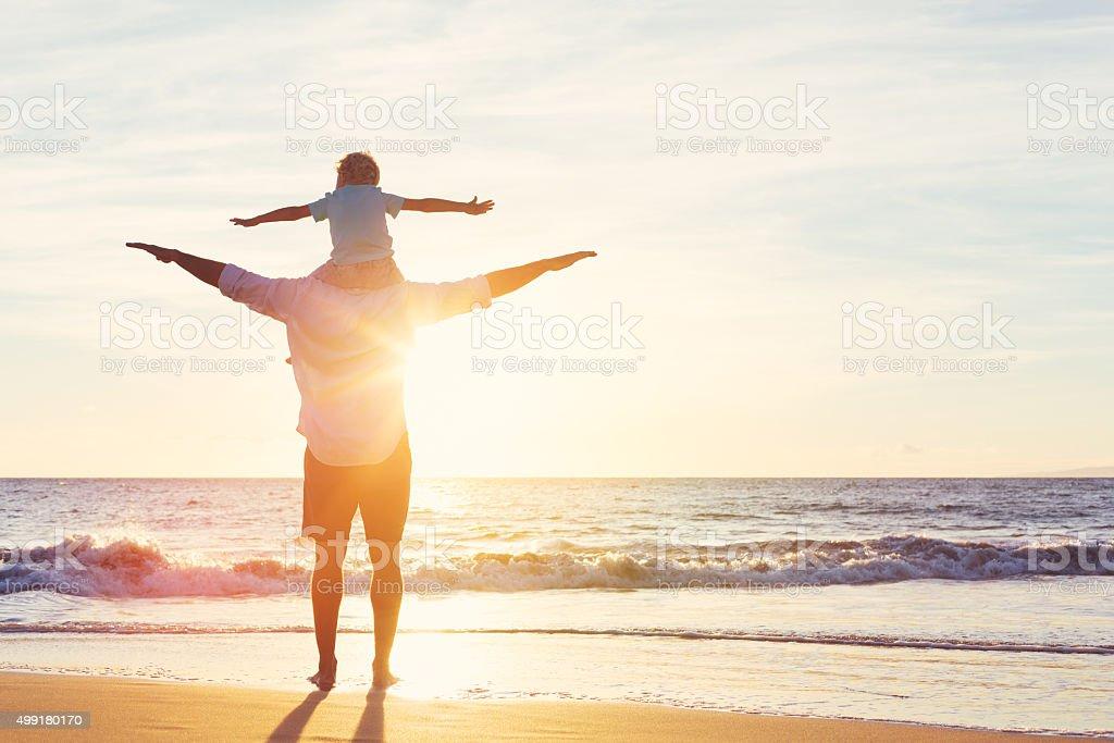 Padre e figlio giocano insieme foto stock royalty-free