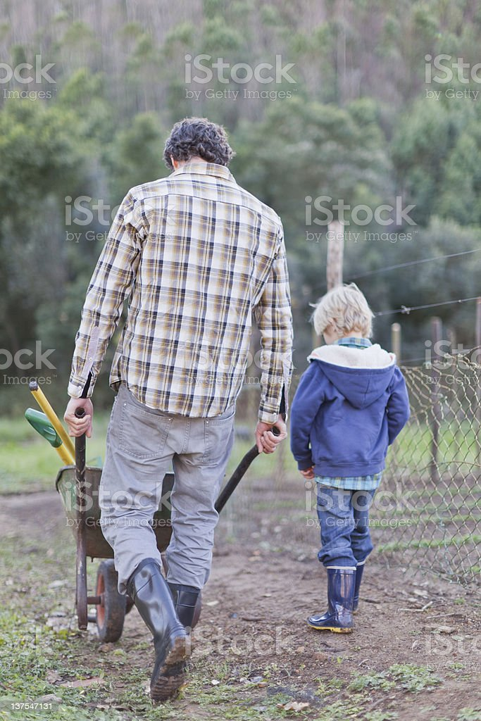 Father And Son Pushing Wheelbarrow Stock Photo More