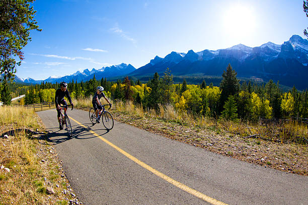 Father and Son Road Bicycling stock photo