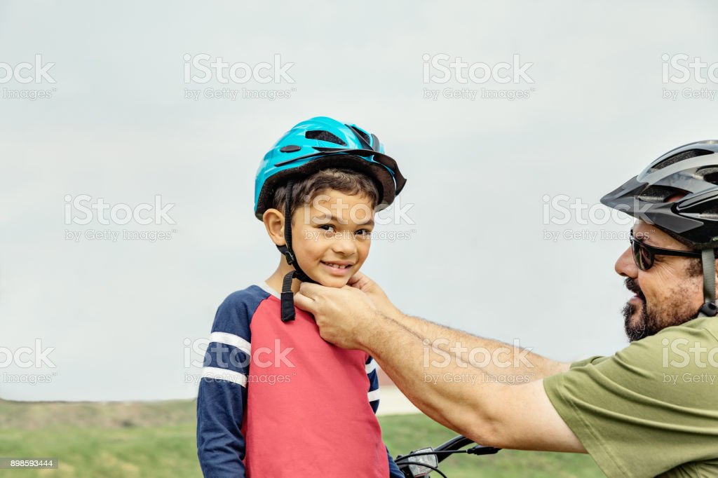 Father and Son Safety Helmet stock photo