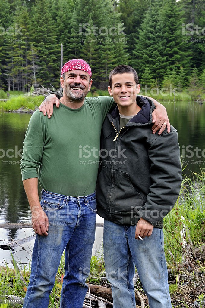Father and Son Share Special Moment stock photo
