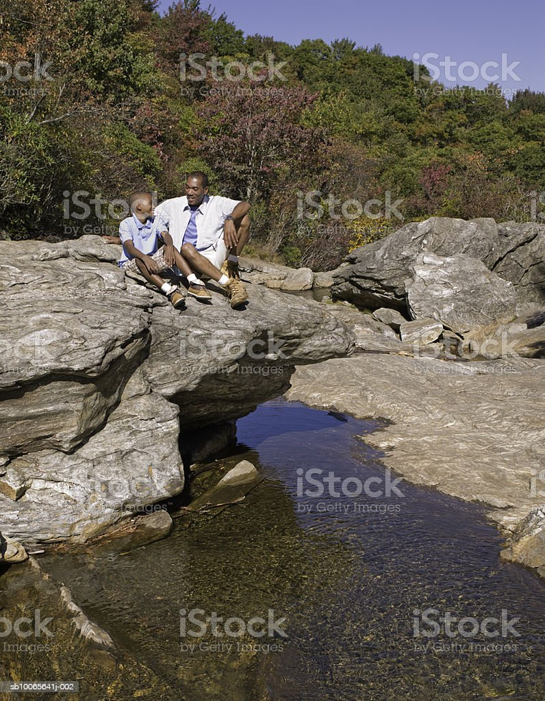 Father and son (12-13) sitting on rock in stream Lizenzfreies stock-foto