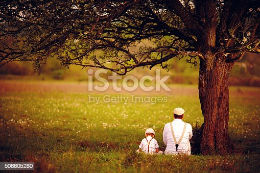 istock father and son sitting under the tree on spring lawn 506605260