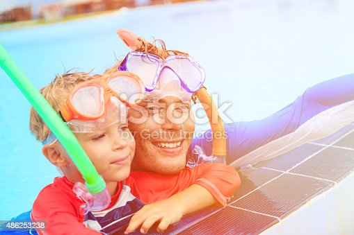 596350174 istock photo father and son snorkeling making selife at beach 486253238