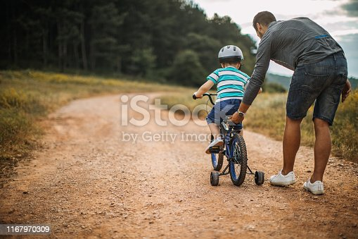 Father and son spending time in nature