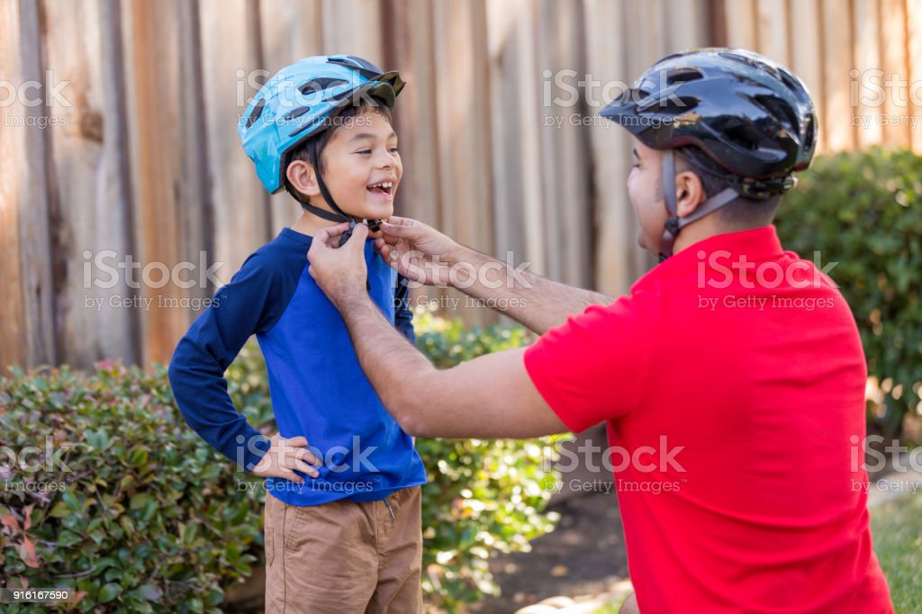 Father and Son Sports Safety stock photo